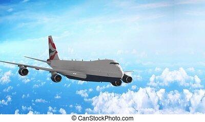 Plane flight against clouds.
