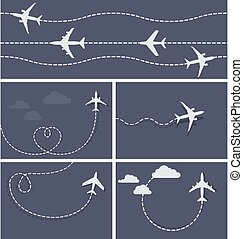 Plane flight - dotted trace of the airplane, heart-shaped ...