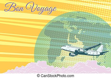 Plane flight travel tourism retro background Bon voyage
