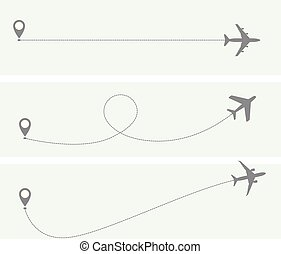 Plane flight with dotted trace - airplane itinerary