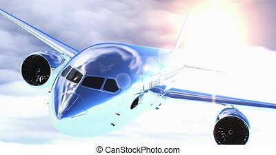 Plane flying. 3D render - Plane flying above the clouds. 3D ...