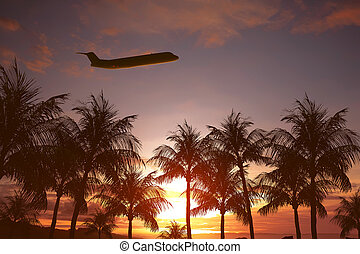 Plane flying above tropical island
