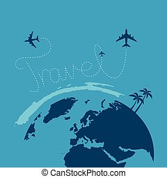plane flying around the globe blue background