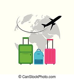 plane flying around the globe colorful cases travel illustration