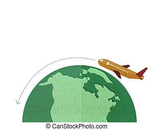 plane flying around the world.