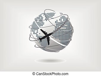 Plane flying around the world