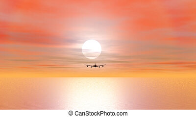 Plane flying by sunset - 3D render