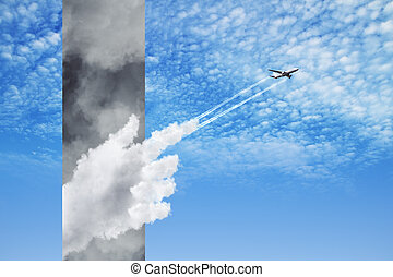 plane flying from stormy clouds to bright blue sky