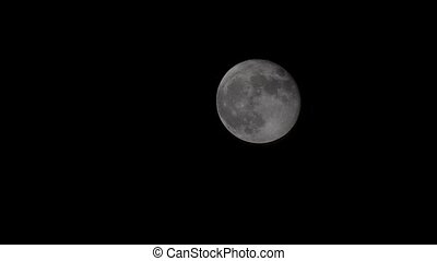 Plane flying in front of full moon, raw tripod steady -...