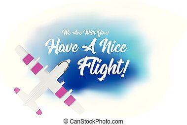 Plane flying in the clouds with the wish of a have a nice flight. Vector top view illustartion