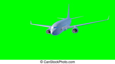 Plane flying on a green background. 3D render