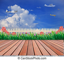 plane flying on blue sky with wood