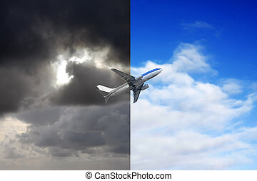 Plane flying out of stormy sky into blue sky