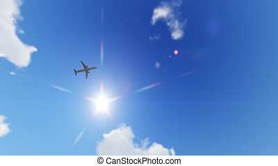 Plane flying over head, landing at airport at sunset