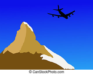 plane flying past Matterhorn in Switzerland illustration