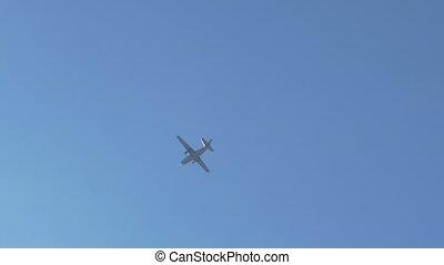 Plane Flying Towards Sun - Plane is flying towards sun on a...