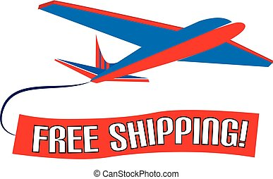 Plane flying with slogan ad free shipping