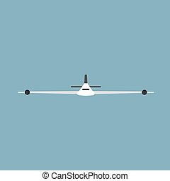 Plane front view transportation travel vector icon. Sky jet aviation illustration vehicle