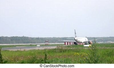 Plane goes on  runway, planes fly up by turns