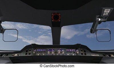 plane., high-tech, piloten, dashboard, vliegtuig, het werken, cockpit