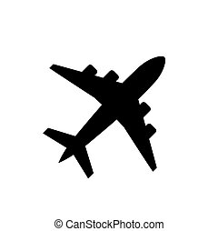 Plane icon, airplane symbol in flat style