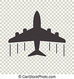 Plane icon. Black flat vector illustration on isolated background