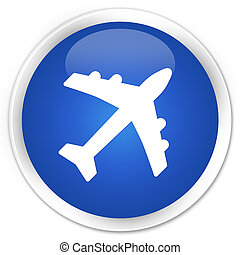 Plane icon blue glossy round button