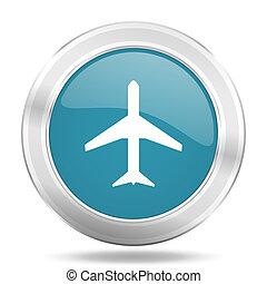 plane icon, blue round glossy metallic button, web and mobile app design illustration