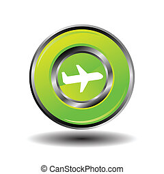 Plane icon button vector green