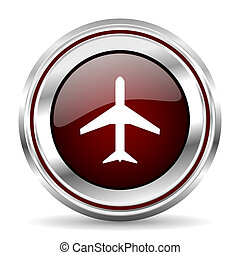 plane icon chrome border round web button silver metallic pushbutton