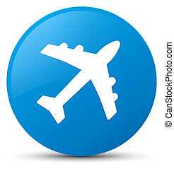 Plane icon cyan blue round button