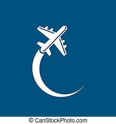 Plane Icon - Plane icon on blue sky background. Vector