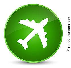 Plane icon elegant green round button