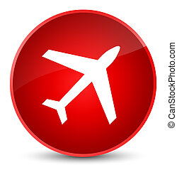 Plane icon elegant red round button