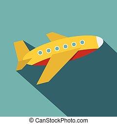Plane icon, flat style