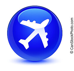 Plane icon glassy blue round button