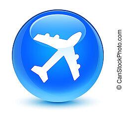 Plane icon glassy cyan blue round button