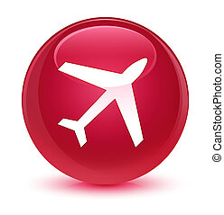 Plane icon glassy pink round button