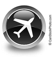 Plane icon glossy black round button