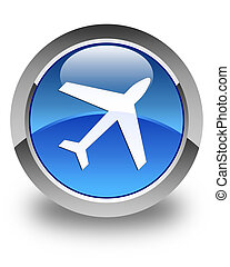 Plane icon glossy blue round button 2