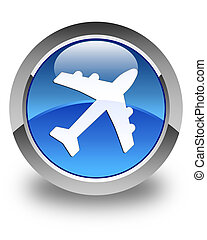 Plane icon glossy blue round button