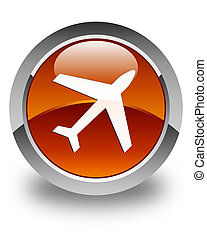 Plane icon glossy brown round button