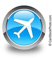 Plane icon glossy cyan blue round button