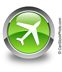 Plane icon glossy green round button 2