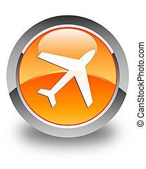 Plane icon glossy orange round button 2