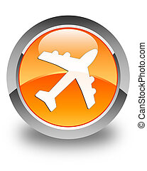 Plane icon glossy orange round button