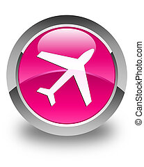 Plane icon glossy pink round button