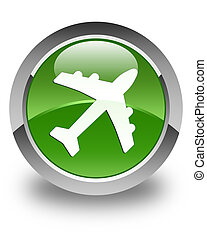Plane icon glossy soft green round button