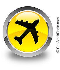 Plane icon glossy yellow round button