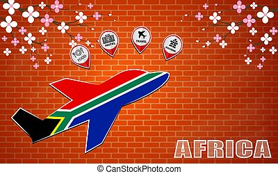 plane icon made from the flag of Africa